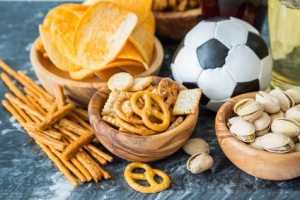 Selection of party food for UEFA champions league, copy space